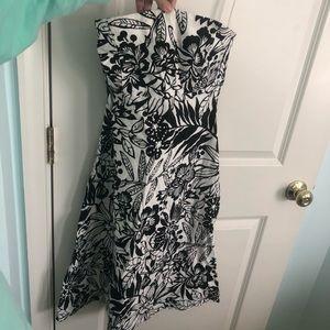 Gap B&W Floral Strapless Dress